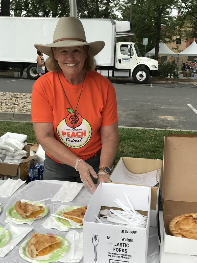 Tracey E. selling peach pie